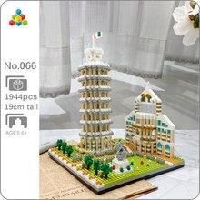 Yz 066 mundialmente famosa arquitetura inclinada torre de pisa 3d modelo diy mini blocos de diamante tijolos de brinquedo de construção para crianças sem caixa