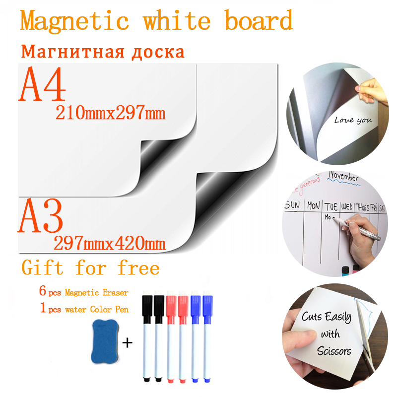 Soft Fridge Stickers  A4+A3Magnetic Whiteboard For Kids Dry Eraser School Memo Presentation Writing Drawing Bulletin White Board