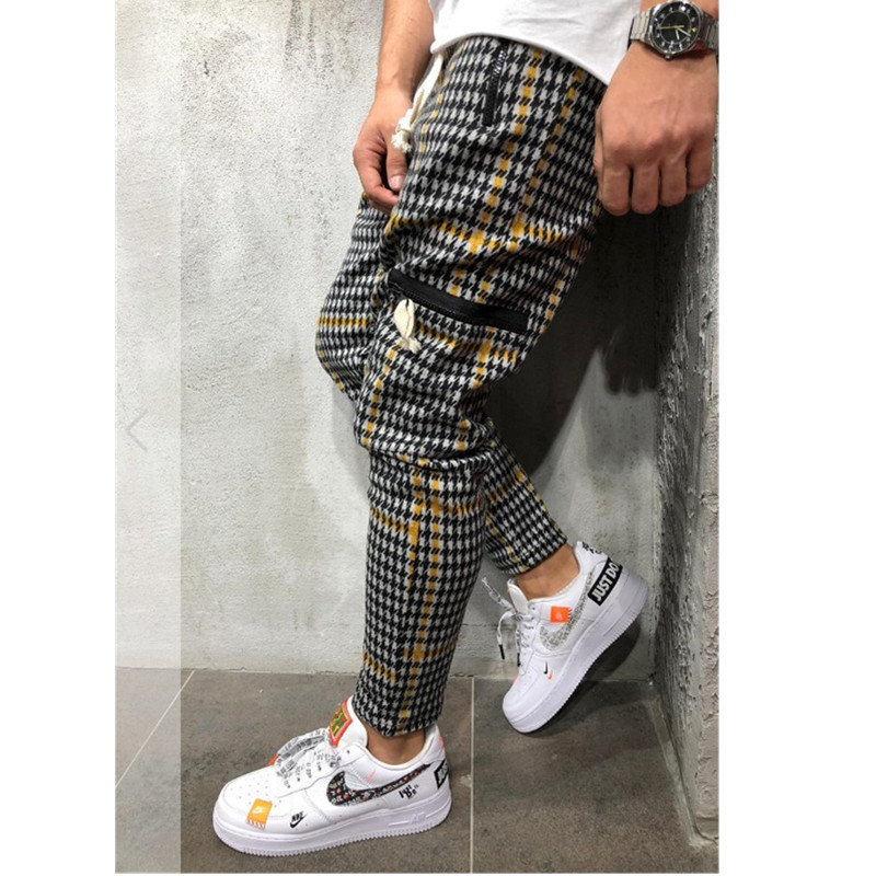 Casual Plaid Ankle-Length Pants Men Trousers Hip Hop Jogger Pants Men Sweatpants Japanese Streetwear Men Pants 2019 Ne
