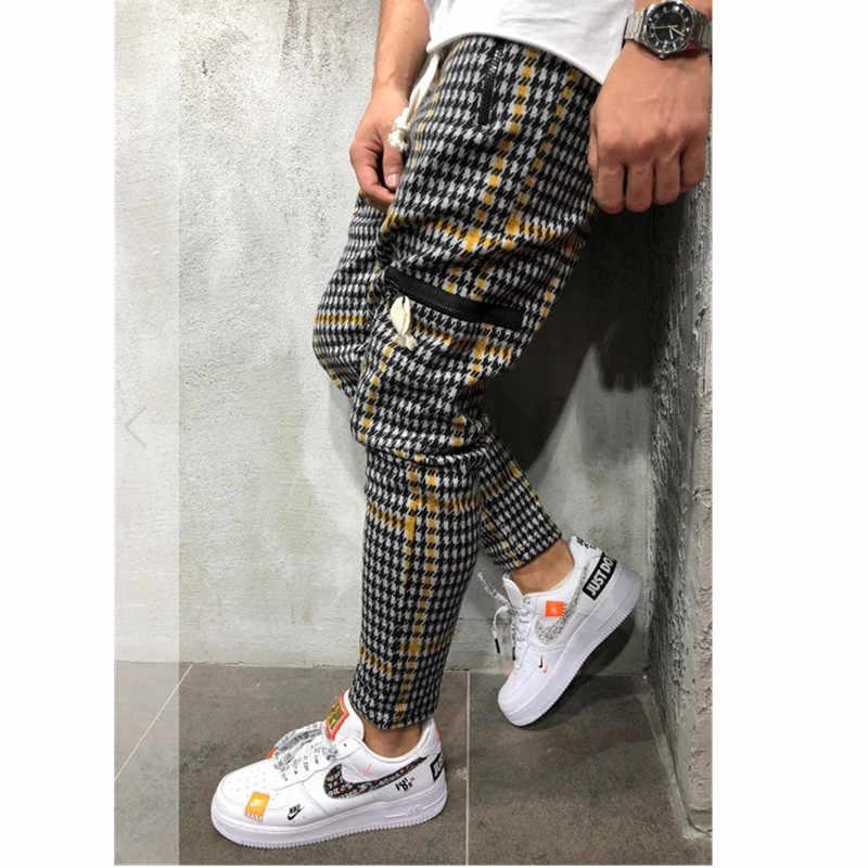 Casual Plaid Ankle-Length Pants Men Trousers Hip Hop Jogger Pants Men Sweatpants Japanese Streetwear Men Pants 2019 Ne