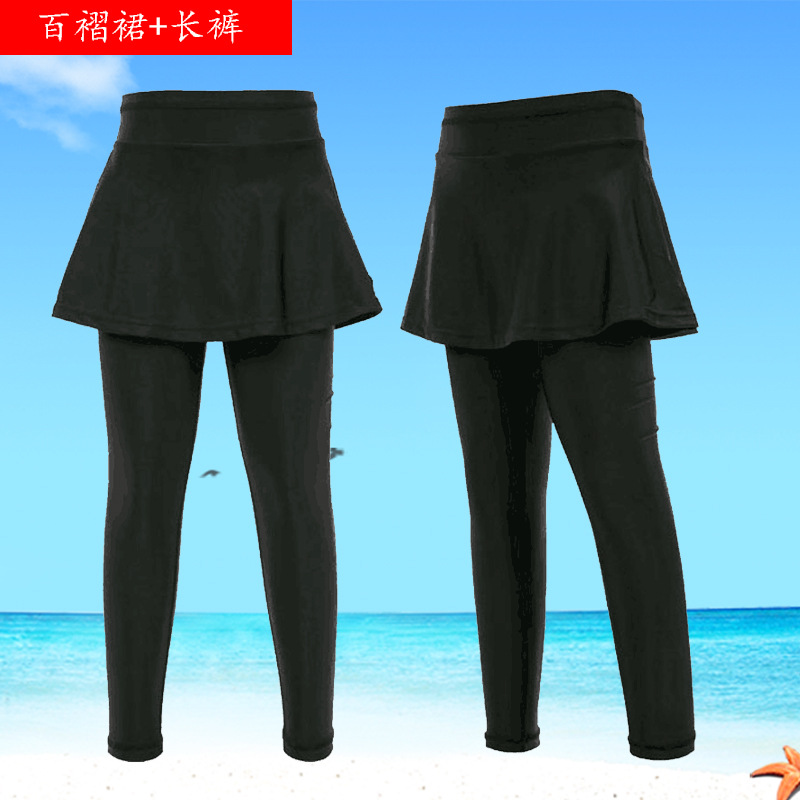 Alone Swimming Divided Skirt Women's Long Legs Black And White With Pattern Conservative Slimming Belly Covering High-waisted Bo