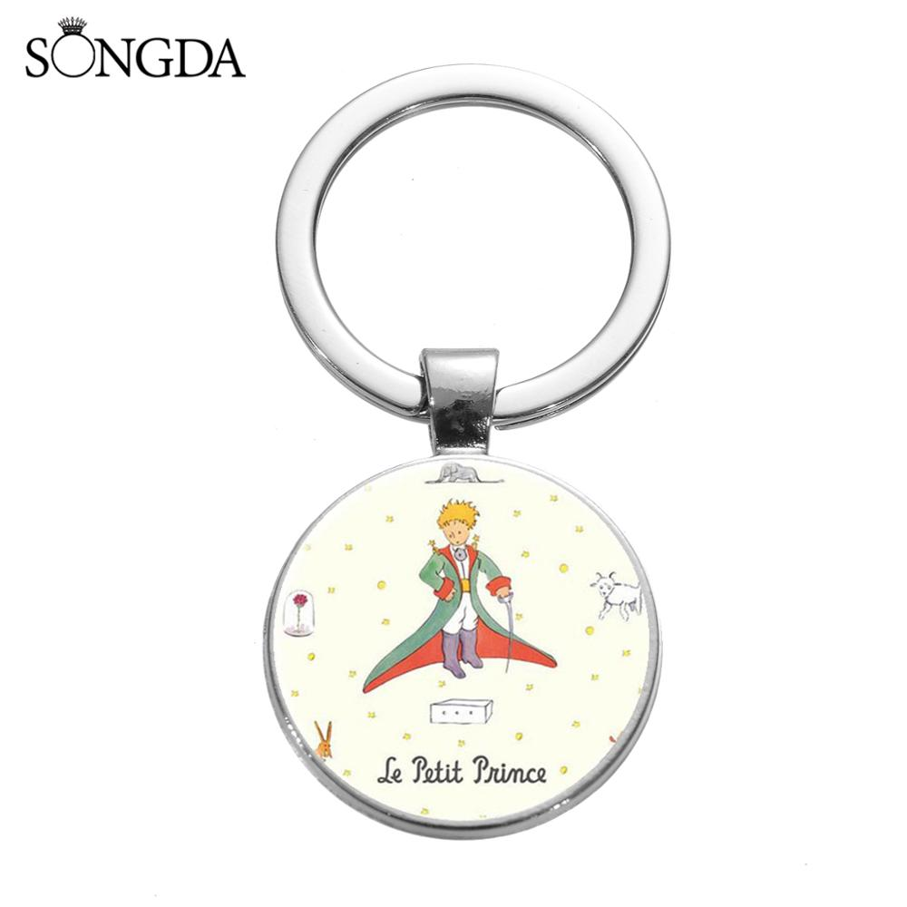 SONGDA Le Petit Prince Keychain Crystal Glass Art Picture Charm Key Chain Cute The Little Prince Theme Key Ring Gift For Friends