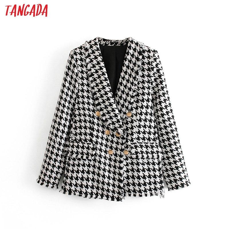 Tangada Women Thick Tweed Coats Jacket Long Sleeves Button Pocket 2019 Ladies Elegant Autumn Winter Coat 3H348