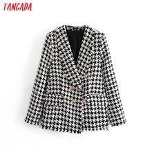Tangada Women Thick Tweed Coats Jacket Long sleeves button pocket 2019 Ladies El