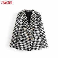 Tangada femmes épais Tweed manteaux veste manches longues bouton poche 2019 dames élégant automne hiver manteau 3H348