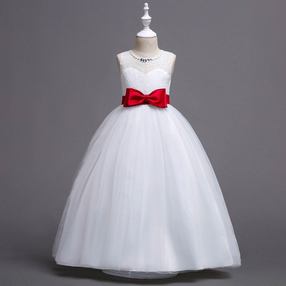 Girls New Style Princess Dress Children White Dress Big Boy Lace Wedding Dress Tutu Skirt