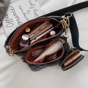 Image 5 - Cao Cấp Kim Cương Lưới Dây Chuyền Vai Bộ Dành Cho Nữ Da PU Kẻ Sọc Túi Và Ví Cầm Tay Vintage Chắc Chắn Nắp Túi Bolsos mujer
