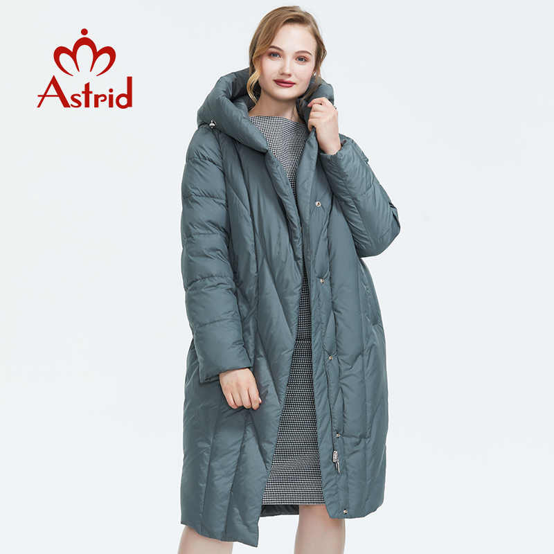 Astrid2019 Winter new arrival down jacket women outerwear high quality gray color thick cotton with a hood long style women coat FR-7059