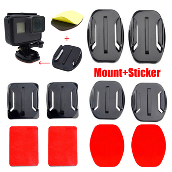 Flat Curved Mount Set Sticker For Xiaomi Yi Gopro 8 7 6 5 4 Hero 4k Camera Sports Camera Accessories Base Helmet Pad Hot Sale image