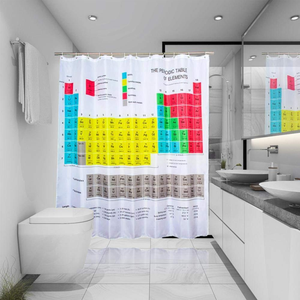 Periodic Table of Elements Waterproof Polyester-Fabric Bathroom Shower Curtain