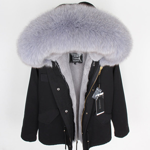 Image 2 - MMK real fur coat new fashion Real fox fur collar winter womens clothing Removable thickened jacket Short pike coat