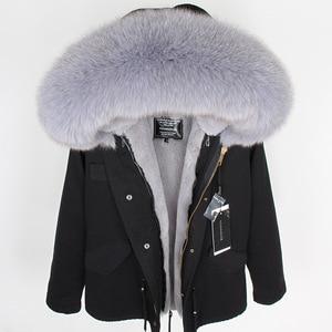 Image 2 - Mmkリアルファーコートファッションリアルフォックスファー襟の冬の女性の衣類着脱可能な肥厚ジャケットショートパイクコート