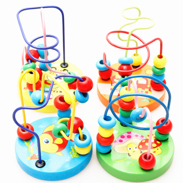 CHILDREN'S Toy Early Childhood Educational Wood Mini Small Bead-stringing Toy Building Blocks Infants Bead Toy Street Vendor