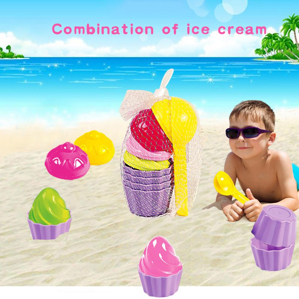 9Pcs Summer Kids Simulated Ice Cream Sand Play Mold Tool Outdoor Beach Game Toy Fun Baby Play Water Toys