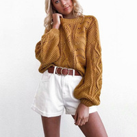2019 Autumn Casual Loose Sweater female Hollow Out Pullover Sweater Women Pull Femmen Autumn New O Neck Knitted Jumpers