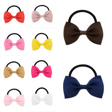 Kids Baby Small Ribbon Bow with elastic hair bands kids hair accessories bowknot hair tie Girls' Hair ropes hair gum(China)