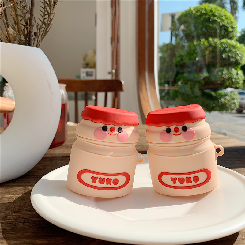 Cute Smile Yakult Lactic Acid Bacteria Drink Earphone Case For Apple Airpods 1 2 Silicone Headphone Box For Earpods Accessories