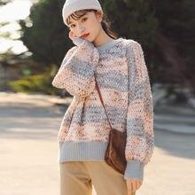 Вязаный свитер для женщин Свитер оверсайз вязаный с длинным