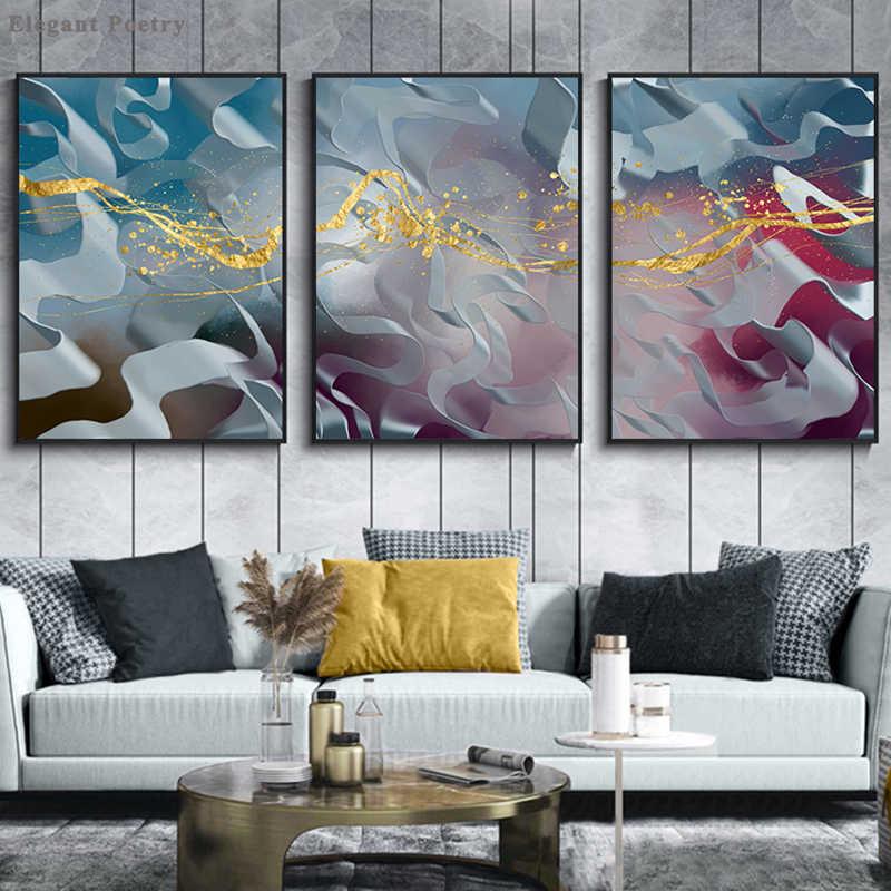 Fumo blu Della Ragazza di Paesaggio Astratta Della Parete Della Tela di Poster Stampa Moderna Opera D'arte Immagine Pittura Contemporanea Nordic Casa Room Decor