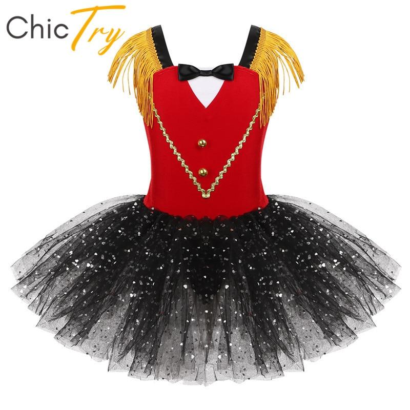 Kids Performance Dance Wear Tassel Sequins Mesh Tutu Ballet Dress Gymnastics Leotard Girls Halloween Ringmaster Circus Costume