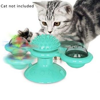 חיות מחמד צעצועים אינטראקטיביים עבור חתול פאזל אימון רוטרי שולחן כדור מסתובב טחנת חתול לשחק משחק צעצועי חתול אספקת עם מברשת