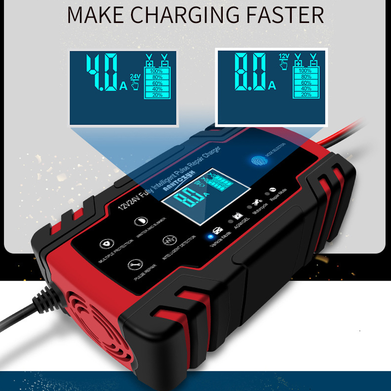 Image 4 - Car Battery Charger 12/24V 8A Touch Screen Pulse Repair LCD Battery Charger For Car Motorcycle Lead Acid Battery Agm Gel Wet-in Battery Charging Units from Automobiles & Motorcycles