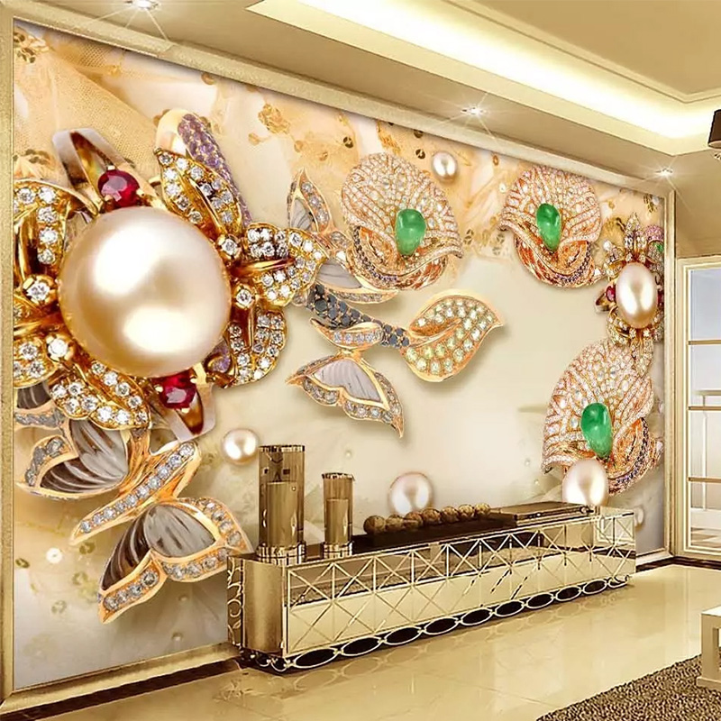 Envío Directo 3D papel tapiz estilo europeo relieve oro esmaltado diamantes flores joyas Fondo paredes murales TV sofá papel de pared 3D