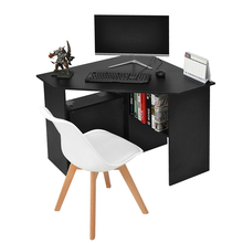 Panana Home Office Corner Desk Computer Workstation PC Laptop Table with shelves white /black