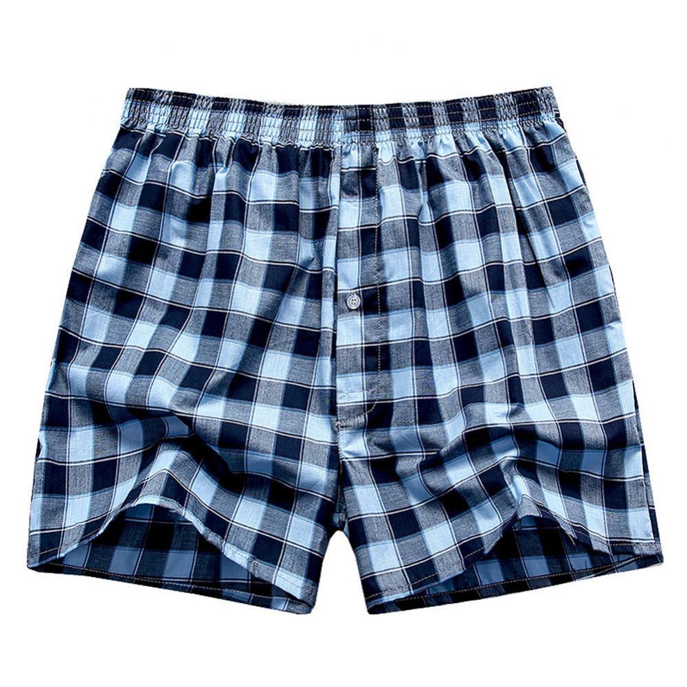 80% Hot Sell Summer Men Plaid Print Elastic Waistband Loose Boxers Beach Home Short Pants 2