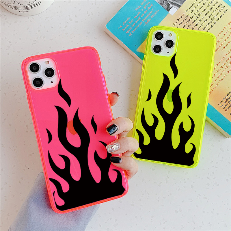 INS hot personality Black fire pattern phone case For iPhone 11 Pro max X XR XS MAX SE 2 2020 8 7 plus cover Fashion soft cases|Fitted Cases|   - AliExpress