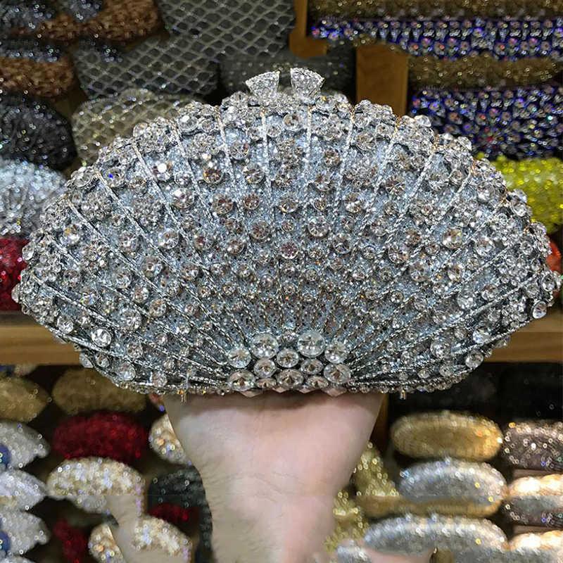 XIYUAN серебряные Хрустальные Вечерние Женская сумочка Модные Свадебные клатч со стразами роскошные женские кошельки на плечо с цепочкой