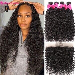 Прозрачный кружевной фронтальной с пряди перуанские Волнистые пряди с фронтальной Miss Cara 100% Remy человеческие волосы с застежкой