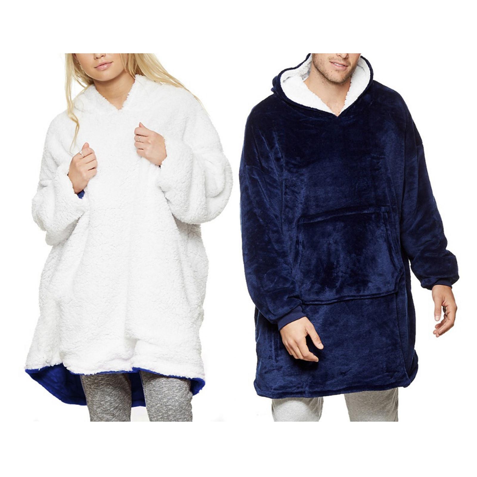 Hoodie Comfy Bathrobe Nightwear Fleece-Blanket Wearable Mountains Picnics Climbing Super-Soft
