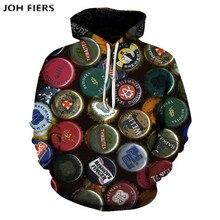New fall men hoodie 3D Beer bottle cap print pullover casual long sleeve men/women Harajuku street  hooded sweatshirt