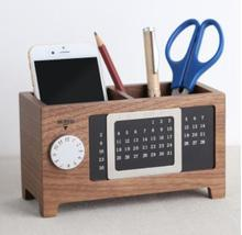 Perpetual calendar pen holder office supplies solid wood multifunctional student stationery desktop storage box decoration offic kicute european perpetual wooden calendar desktop pen holder block wood calendar diy yearly planner home desk office supplies