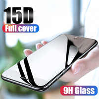 15D vidrio templado en El para iPhone X 7 8 6 Plus Protector de pantalla de vidrio Protector completo para iPhone XR XS Max 6 6s 7