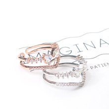 Korean version of temperament zircon ring V-shaped bow double ring