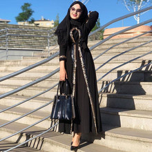 Siskakia – Kimono Abaya à paillettes pour femmes, vêtement noir, modeste, musulman, dubaï, Eid Mubarak, marocain, arabe, turc, islamique, 2020