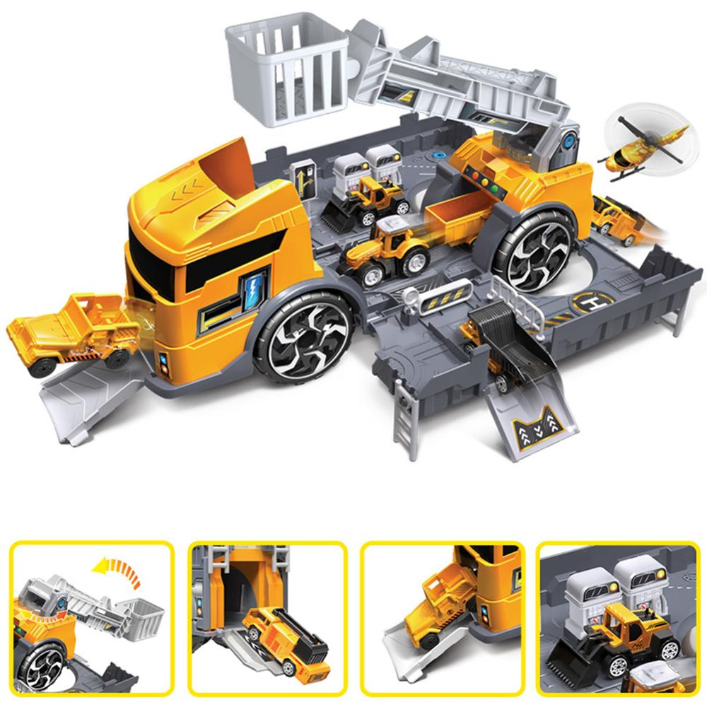 Pokich Children Simulation Fire Engineering Vehicle Parking Lot Educational Pull-back Car Set for Kids Car Model Toys