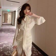 2020 fall french long sleeve dress office lady  sheath zippers
