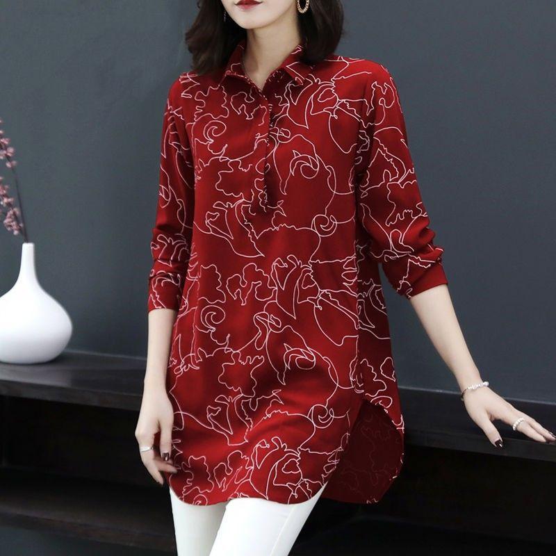 Casual outono primavera camisas roupas femininas novo 2020 floral impresso túnica solta longa festa vintage blusas plus size topos h228