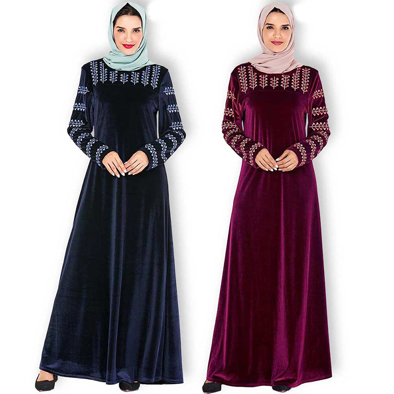 Plus Size Winter Velvet Abaya Dubai Hijab Muslim Dress Islamic Clothing For Women Caftan Kaftan Turkish Dresses Ramadan Kleding