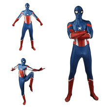 DM 3D Digital Print Spider-Man Captain America One-Piece Costume Cosplay Halloween Cool Festival Play