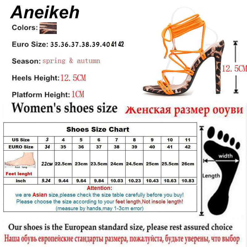Aneikeh 2019 Moda Akın Sandalet Kadınlar Leopar Tahıl Yuvarlak Ayak Ince Yüksek Topuklu Ayakkabı Parti Düğün Dantel Up Turuncu boyutu 35-42