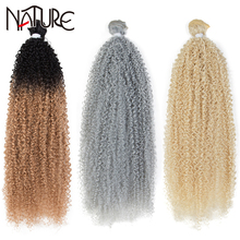 Nature Kinky Curly Hair Bundles 22 inch Synthetic Hair Extensions Ombre 613 Blonde Heat