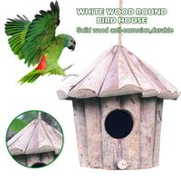 Handmade Wooden Bird Cage House Eco friendly Whitewood Round Hole Garden Bird Nest Crafts Solid Antiseptic Parrot Birdhouse Bird Cages & Nests     -