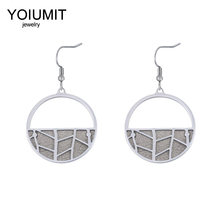 Cremo Argent George Stainless Steel Earring for Women Interchangeable Leather Round Drop Earring Hanging Dangle Earrings