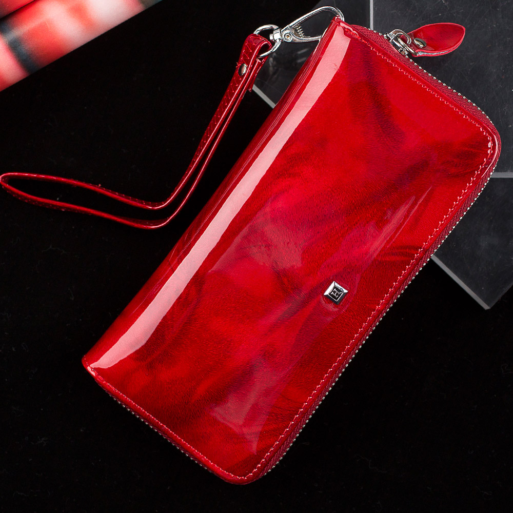 HH women's wallet Genuine Leather Female Purses  Ladies Long Purse Handle Clutch Wallets for Phone Design Long Wristlet Clutch