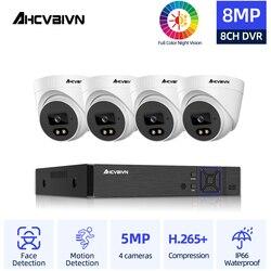 CCTV Kamera Sicherheit System Kit 4k 8ch DVR 4 stücke Bunte Nachtsicht AHD Wasserdicht Gesicht Erkennung Kamera Überwachung kitH.265