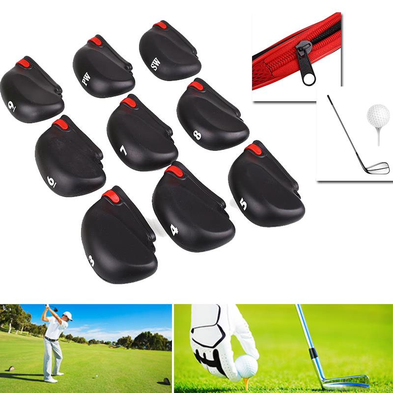 Fashion Accessories Golf Golf Golf Iron Head Covers 9Pcs Zipper Club Black Clubs Case With Silicone Rope